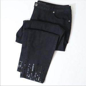 Avenue straight leg jeans sequin cuffs